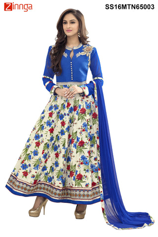 Blue  and Multi Color Bhagalpuri Print Semstitched  Salwar - SS16MTN65003