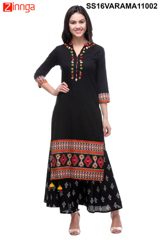 Black Color Cotton Cambric Stitched Kurti - SS16VARAMA11002