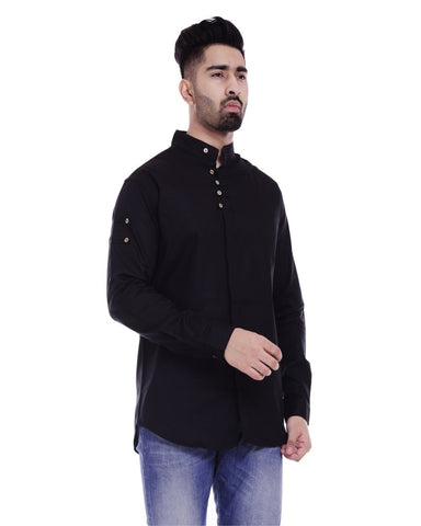 Black Color Cotton Men's Solid Shirt - ST361