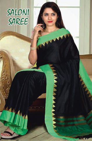 Black and Popati Color Cotton Masaraised Saree - Salooni-001