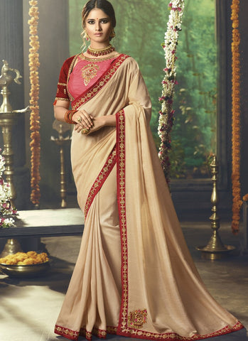Beige Color Silk Saree  - Shrey2-2140