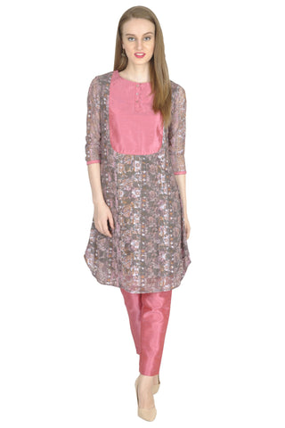 Grey and Pink Color Jacquard Net Stitched Kurti - Simbha-15