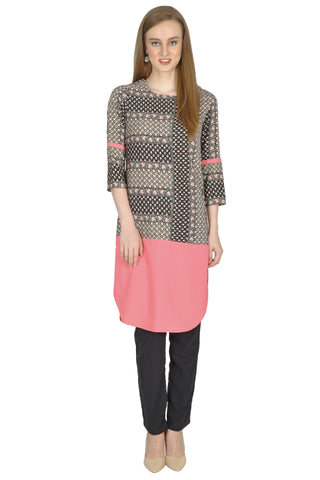 Black and Peach Color PolyCrepe Stitched Kurti - Simbha-16