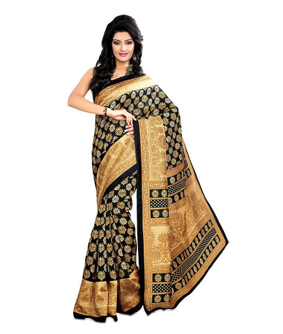 Black and Beige Color Kalamkari Mysure Silk Saree - TMSS-1