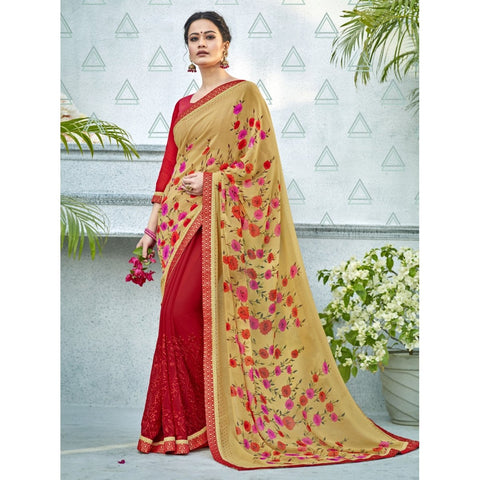 Beige Red Color Georgette Saree - TSNNOR18102