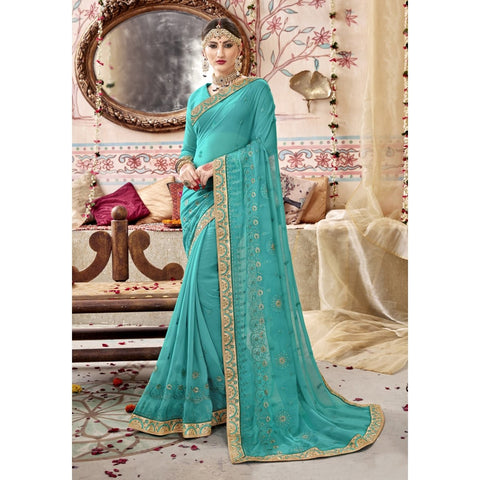 Sky Blue Color Georgette Saree - TSNZNT26907