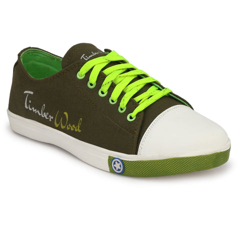 Green Color Canvas Men Sneaker - TWSN-GREEN