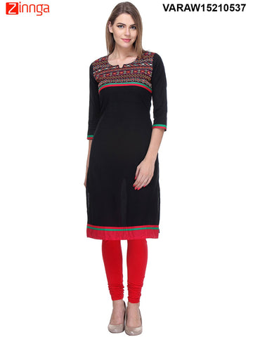 Black Color Cotton Stitched  Kurti - VARAW15210537