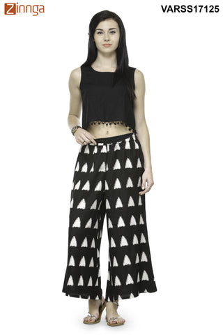 BLACK AND WHITE COLOR RAYON PLAZO - VARSS17125
