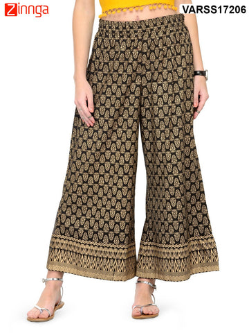 BLACK AND GOLDEN COLOR COTTON PLAZO - VARSS17206