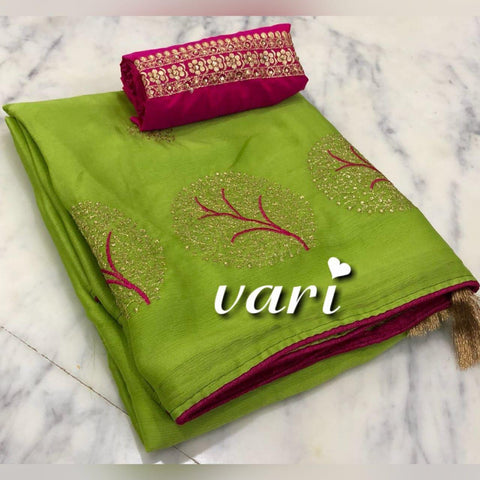 Green Color Moss Chiffon Saree - VF-TREE-4