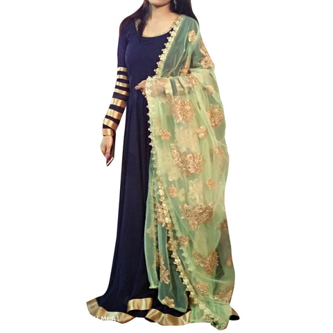 Navy Blue  Color Georgette Stitched Indowestern  - VS002