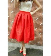 Buy Orange Color Raw Silk   Stitched Skirt