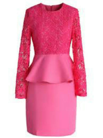 Pink Color Lace Net With Scuba Knit Stitched Dress - VS019