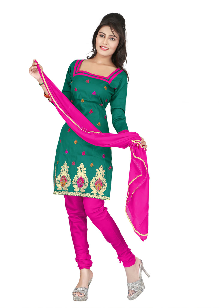 Buy Dark Green Color Cotton Unstitched Salwar