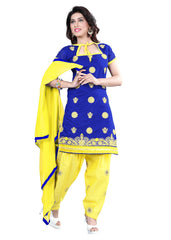 Buy Blue Color Chanderi Unstitched Salwar