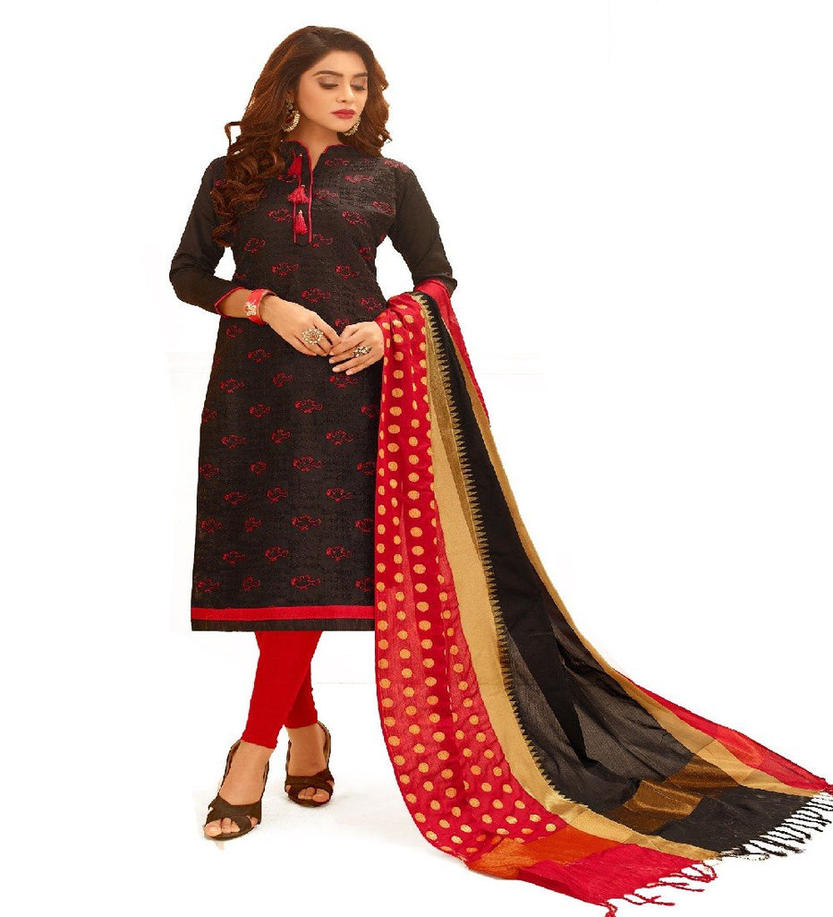 Buy Black Color Glace Cotton Unstitched Salwar