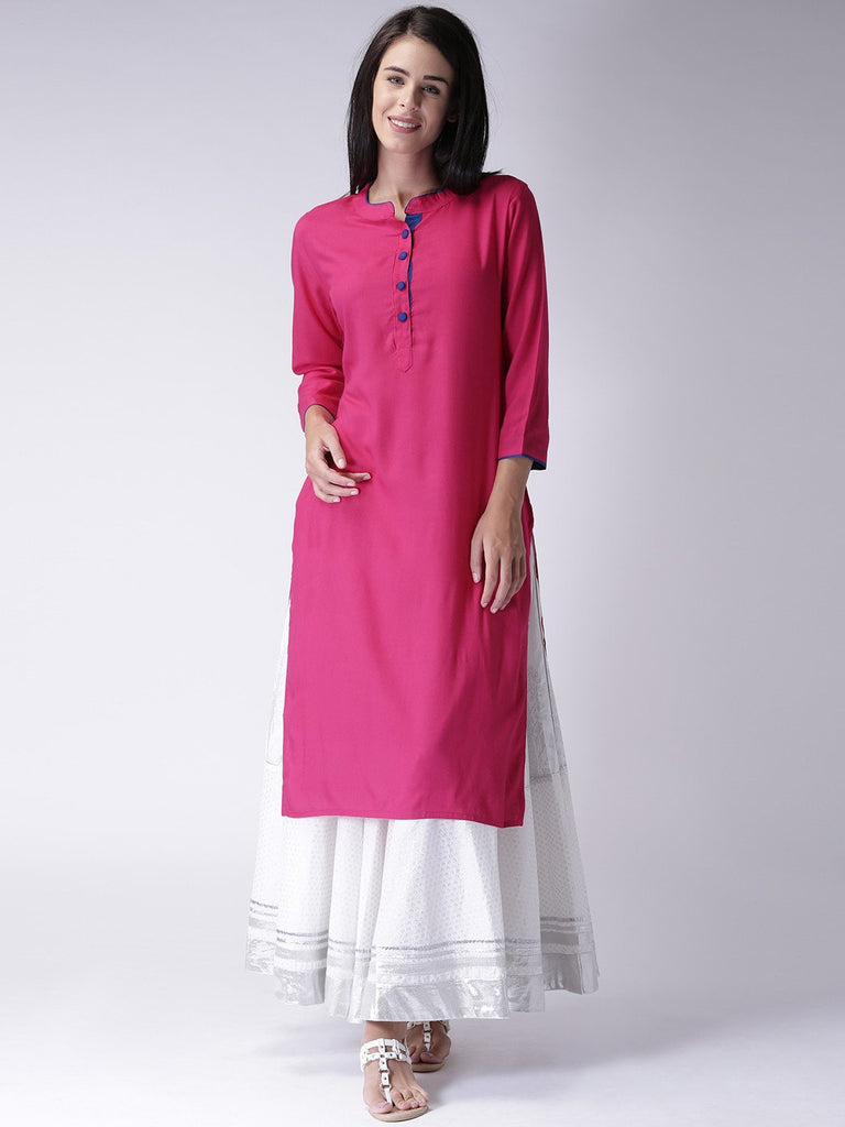 Buy Pink Color Heavy Rayon Stitched Kurti