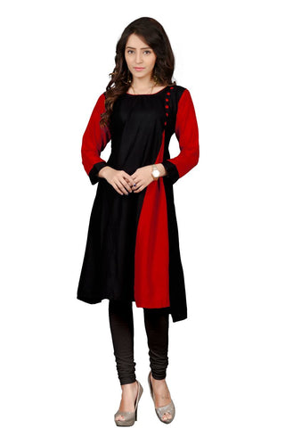 Black And Red Color Heavy Rayon Stitched Kurti - VT99A