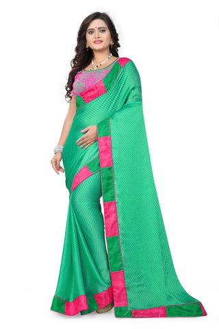 Green Color Satin Checks Silk Saree - Vaani-103