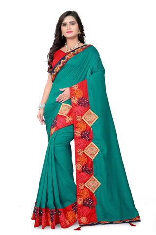 Rama Green Color Vichitra Art Silk Saree - Varuni-101