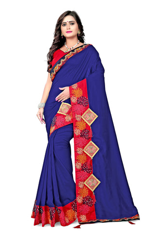 Navy Color Vichitra Art Silk Saree - Varuni-103