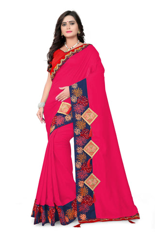 Rani Pink Color Vichitra Art Silk Saree - Varuni-104