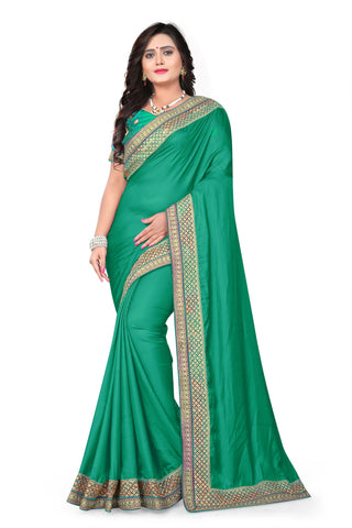 Rama Green Color Barfi Art Silk Saree - Varuni-201