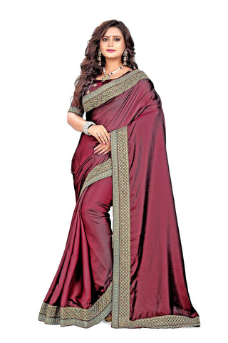 Maroon Color Barfi Art Silk Saree - Varuni-202