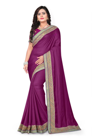 Wine Color Barfi Art Silk Saree - Varuni-203