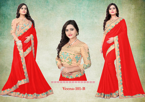 Red Color Vichitra Art Silk Saree - Veena-103