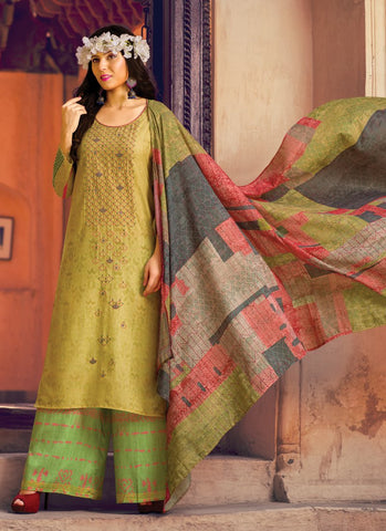 Gold Color Pure Lawn Semi-Stitched Salwar - VeroAmore-21996
