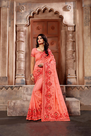Peach Color Vichitra Art Silk Saree - Vrunda-302