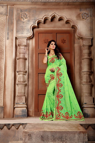 Green Color Vichitra Art Silk Saree - Vrunda-303