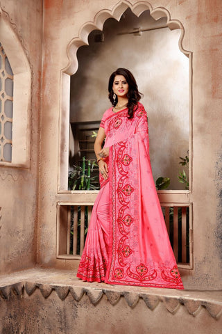 Pink Color Vichitra Art Silk Saree - Vrunda-305