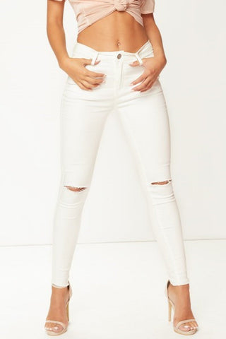 White Color Denim Women Jeans - WJEAN-T9WHT3-1