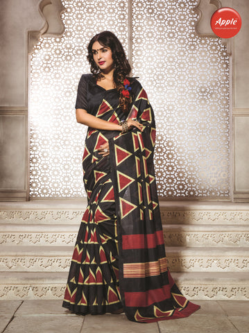 Black and Red Color Bhagalpuri Silk Saree - WV8-8WOM9803