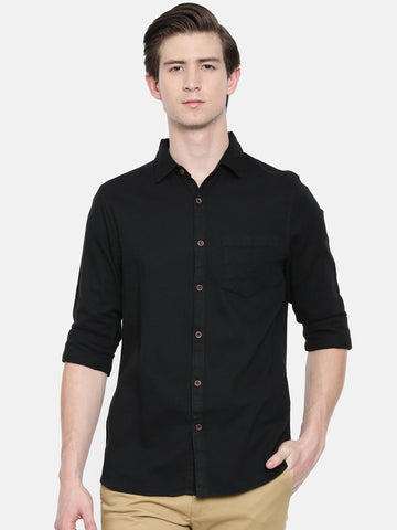 Black Color Cotton Linen Men's Solid Shirt - WW448D
