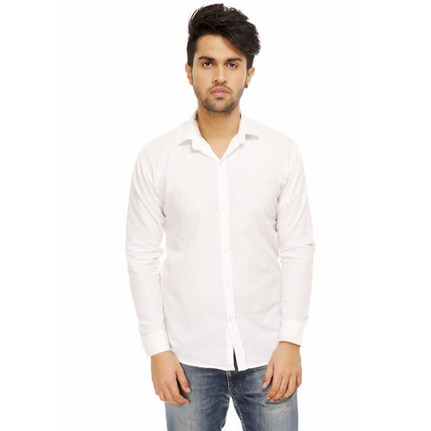 White Color Cotton Blend Slim Fit Shirts - White-shirtsNew