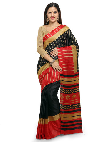 Black & Red Color Khadi Saree  - YNF-28607