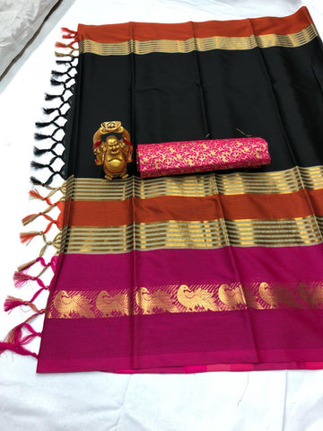 Black And Pink Color  Cotton Silk Saree With Extra Blouse - YOYO-2000