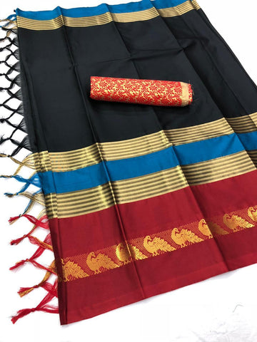 Black And Red Color  Cotton Silk Saree With Extra Blouse - YOYO-2001