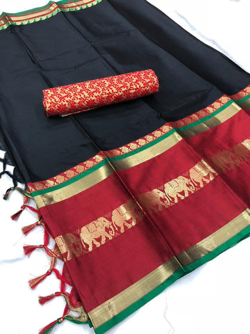 Black And Red Color  Cotton Silk Saree With Extra Blouse - YOYO-2005