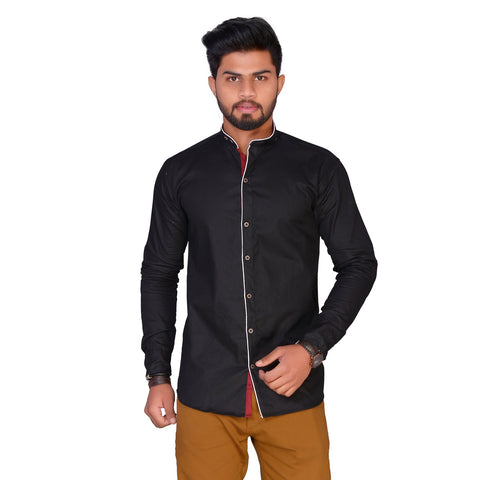 Black Color Cotton Blend Men's Solid Shirt - ZTL-KSMS18