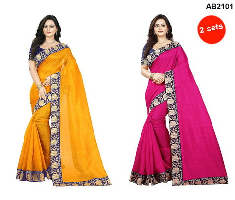Yellow and Pink Color Bhagalpuri Silk Sarees - house-yellow-1 , house-pink-1