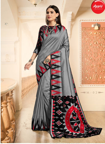 Gray Color Myra Silk Saree - AHMYR02