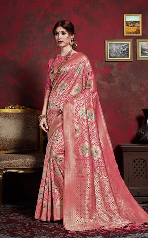 Baby Pink Color Silk saree - AMHER1001