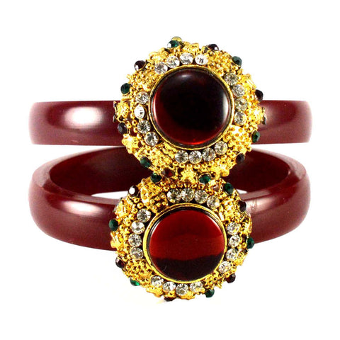 Maroon Color Stone Stud Acrylic-Brass Bangle - ban1458