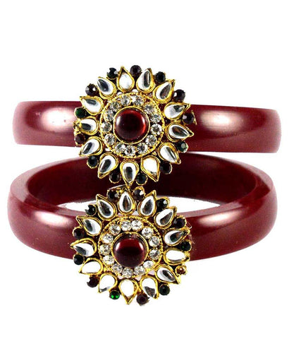 Maroon Color Stone Stud Acrylic-Brass Bangle - ban1460