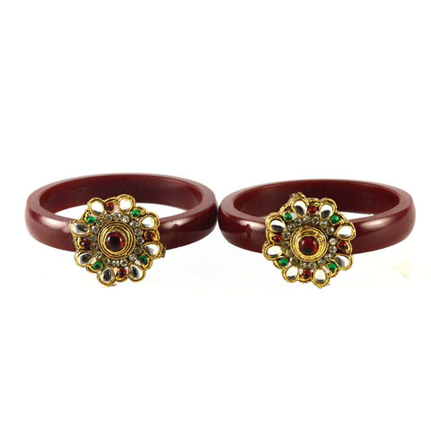 Maroon Color Stone Stud Acrylic-Brass Bangle - ban1462